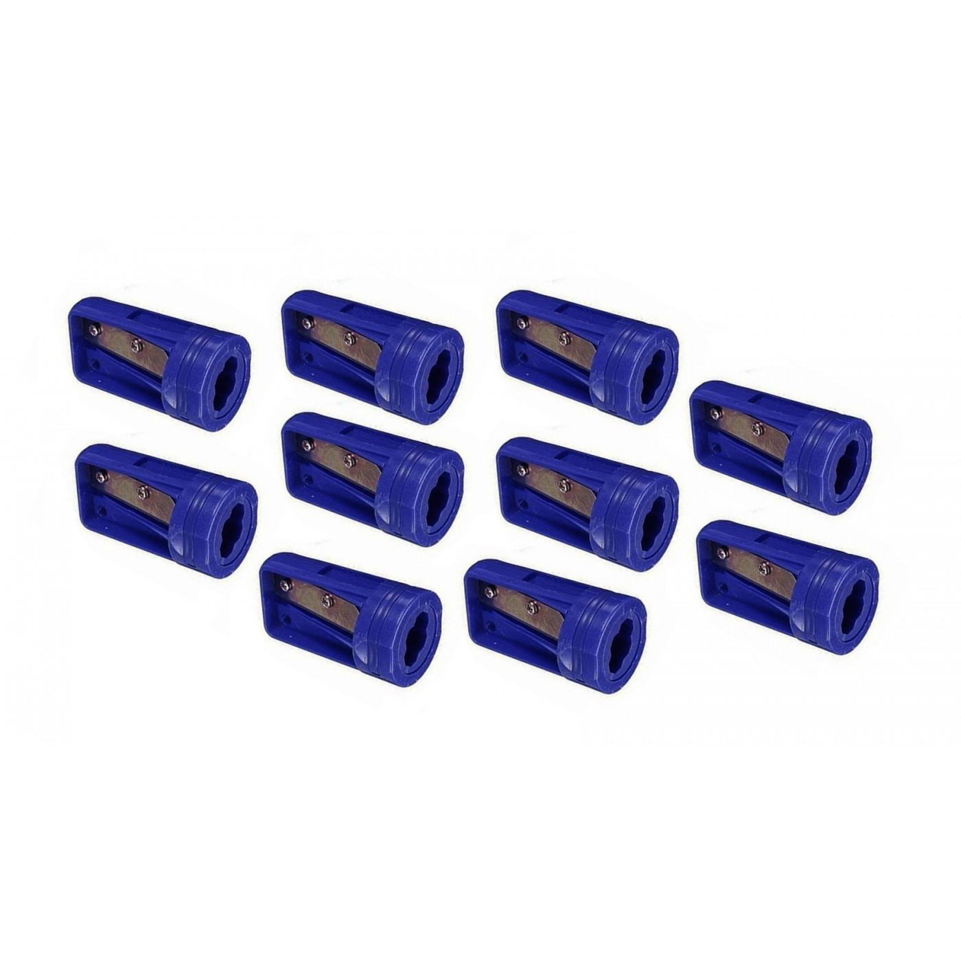 Set van 10 puntenslijpers voor timmermanspotlood, blauw