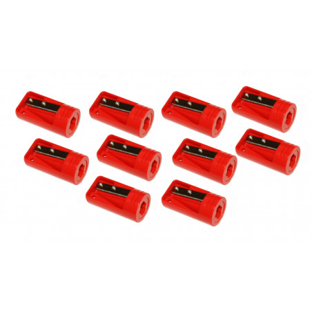 Set of 10 carpenters pencil sharpeners, red