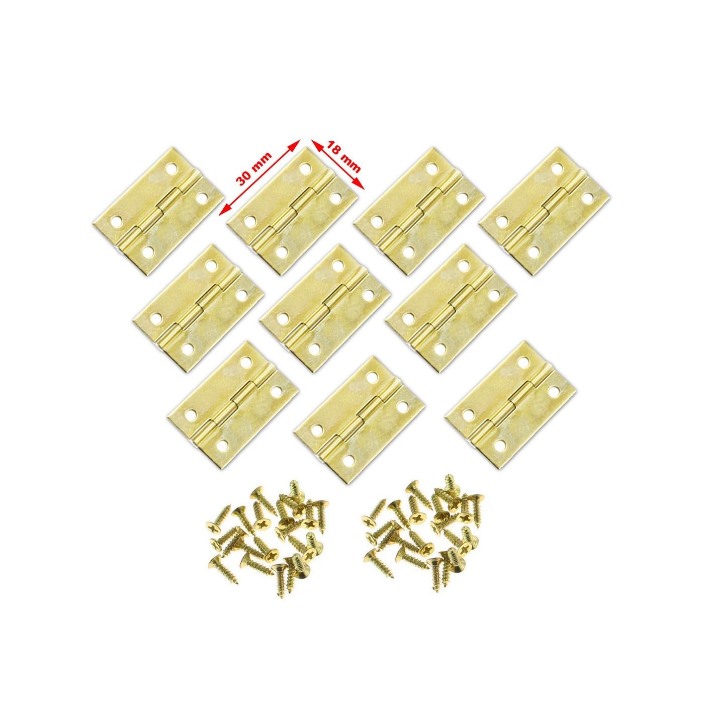 Ensemble de 30 petites charnières en laiton (30x18 mm)
