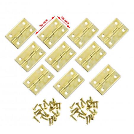 Set von 30 kleinen Messingscharnieren, 30x18 mm  - 1