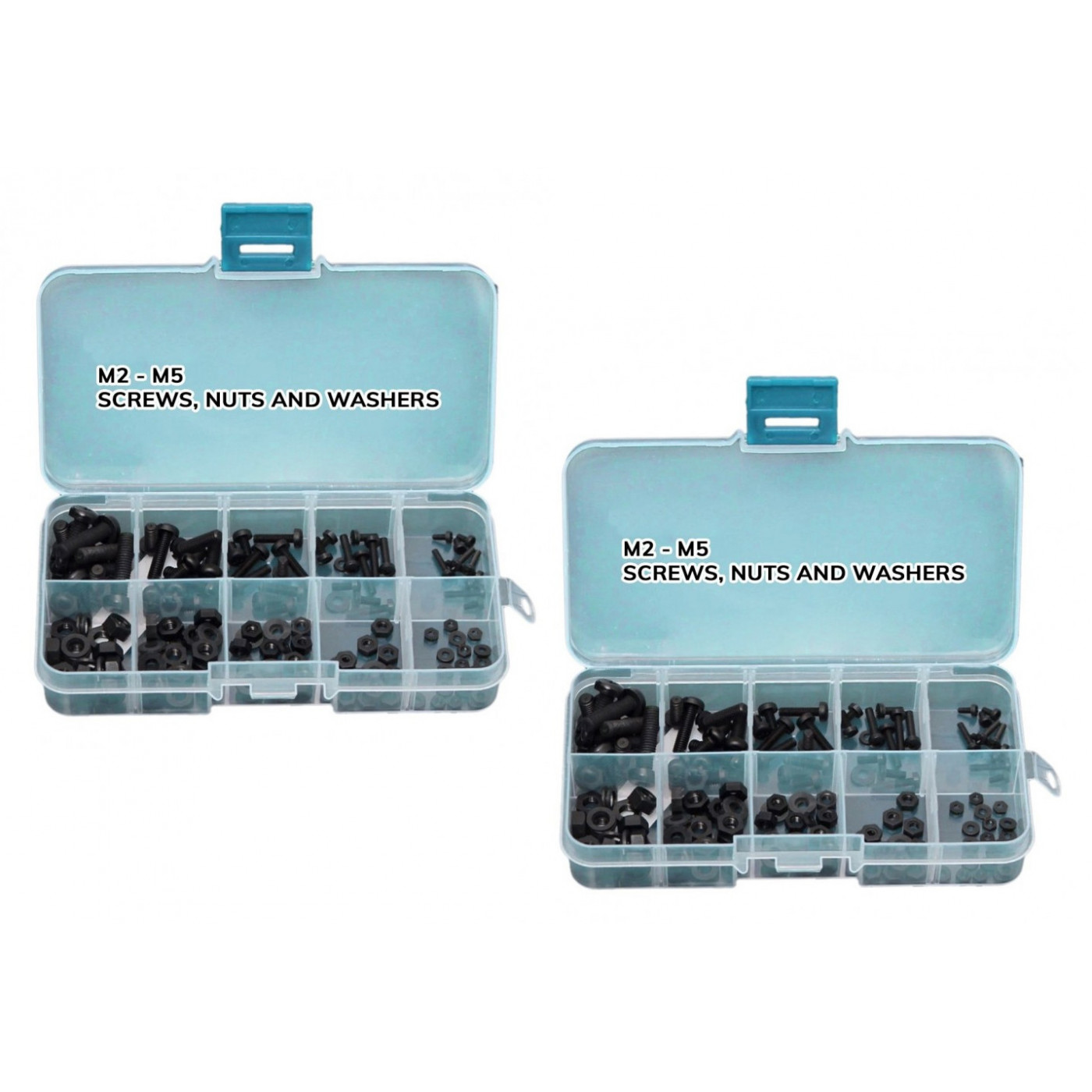 Set of 300 nylon bolts, nuts and washers (black) in box