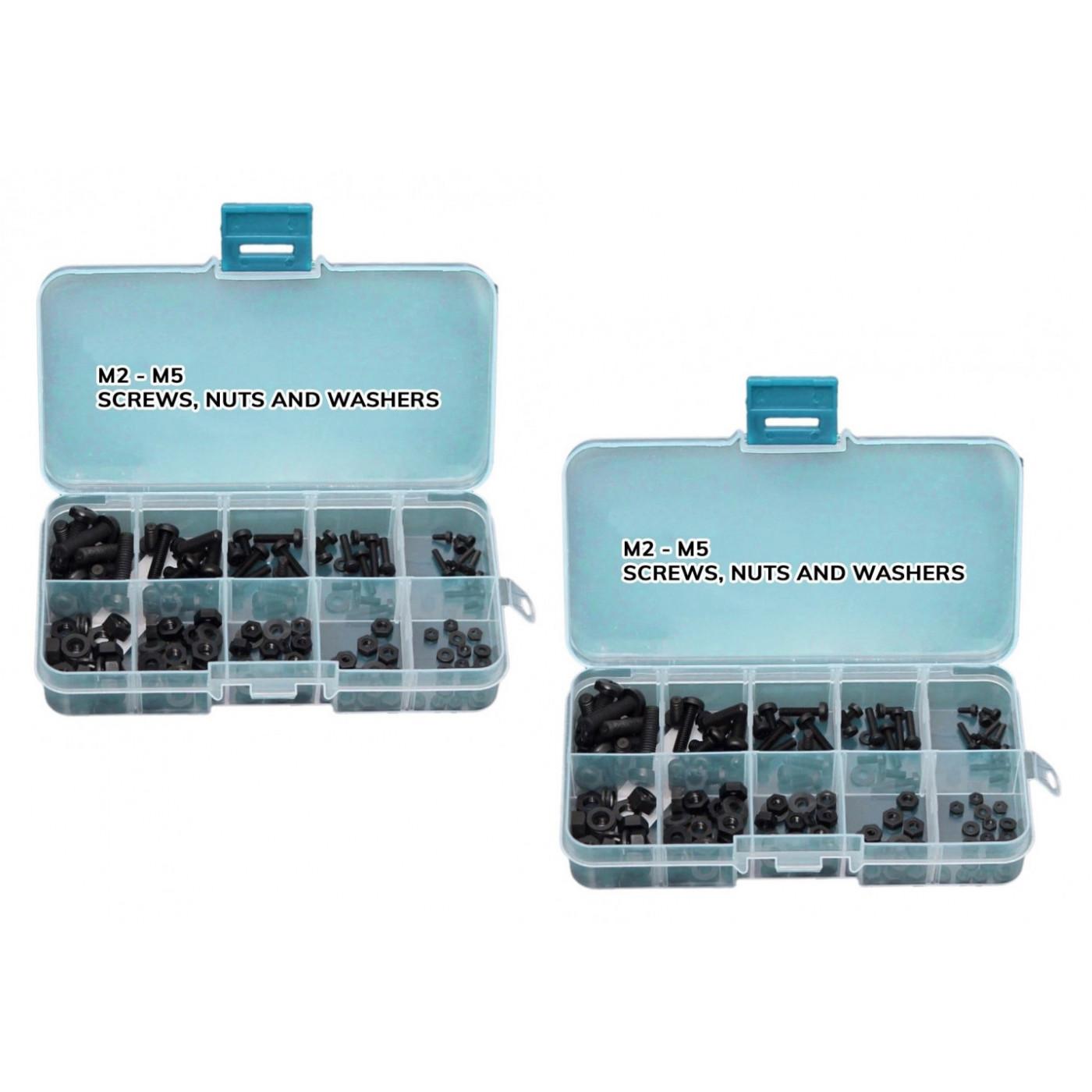 Set van 300 kunststof bouten, moeren en ringen (zwart)  - 1