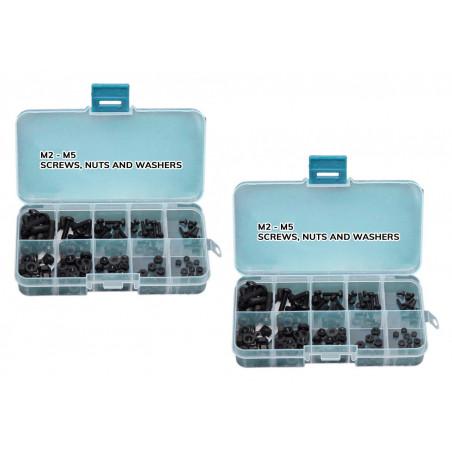 Zestaw 300 nylonowych śrub, nakrętek i podkładek (czarnych) w pudełku  - 1