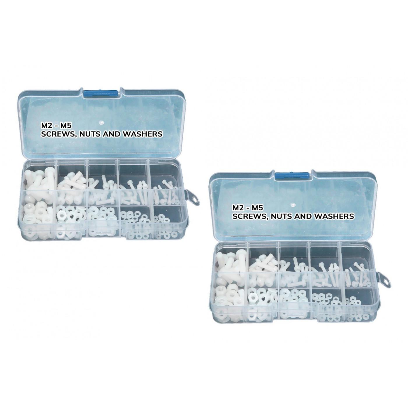 Ensemble de 300 boulons, écrous et rondelles en nylon (blancs) dans une boîte  - 1