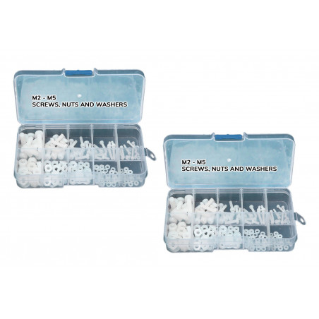Zestaw 300 nylonowych śrub, nakrętek i podkładek (białe) w pudełku  - 1