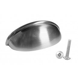 Set van 10 handgrepen schelp, voor meubels: zilver  - 1