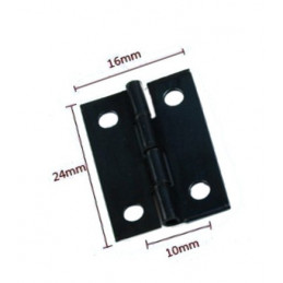 Set of 60 mini black iron hinges (16x24 mm)  - 1