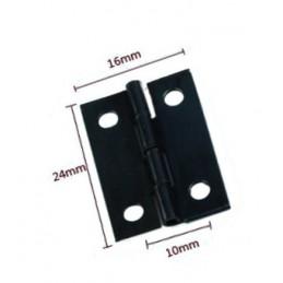 Set of 60 mini black iron hinges (24x16 mm)
