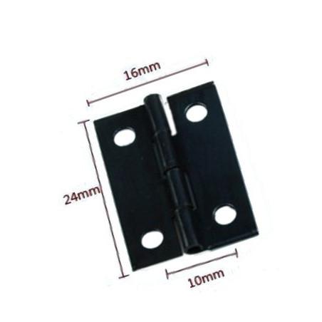 Set van 60 mini zwart ijzeren scharnieren (24x16 mm)