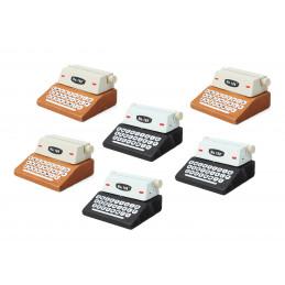 Conjunto de 20 portatarjetas / tarjetas (marrón y negro, máquina de escribir)  - 5