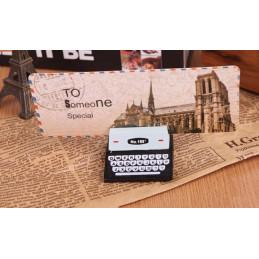 Conjunto de 20 portatarjetas / tarjetas (marrón y negro, máquina de escribir)  - 3