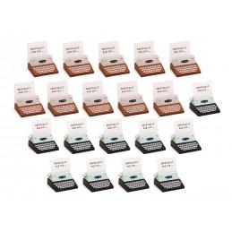 Conjunto de 20 portatarjetas / tarjetas (marrón y negro, máquina de escribir)  - 1