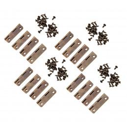 Set van 16 kleine bronskleurige scharniertjes, 30x17 mm  - 1