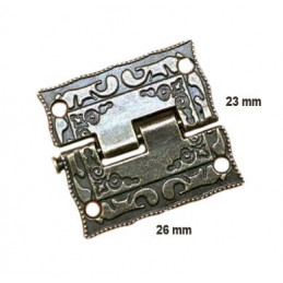 Set of 6 mini antique hinges (26x23 mm)  - 1