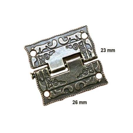 Set of 6 mini antique hinges (26x23 mm)