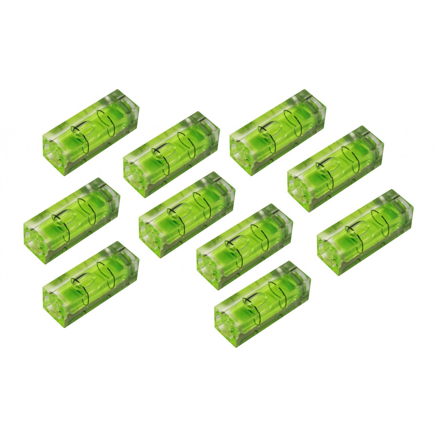 Set van 10 libellen voor waterpas, 10x10x29 mm, groen