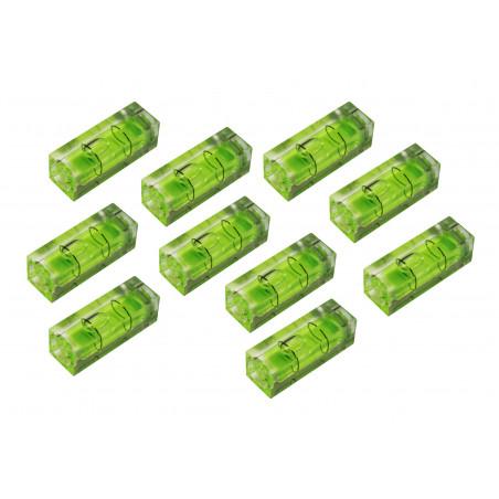Set van 10 libellen voor waterpas, 15x15x40 mm, groen