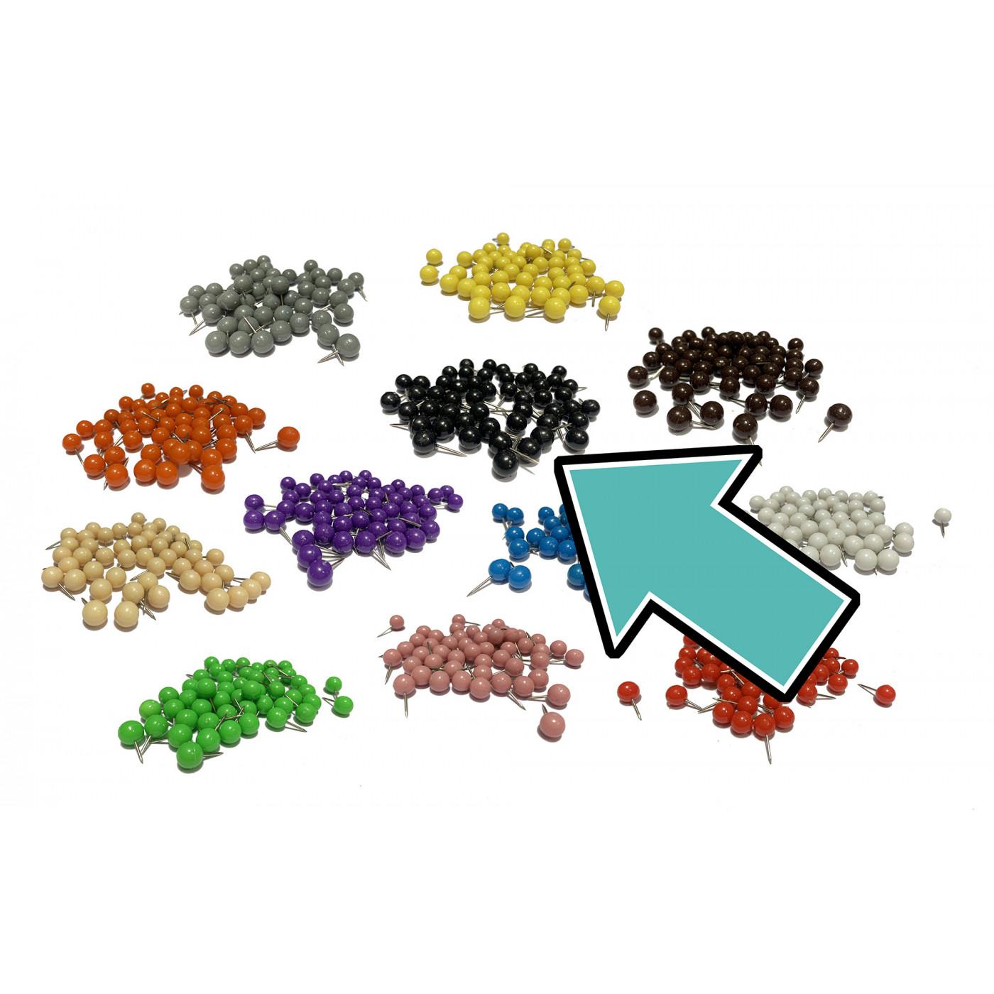 Set of 250 push pins ball: black, 9.5 mm