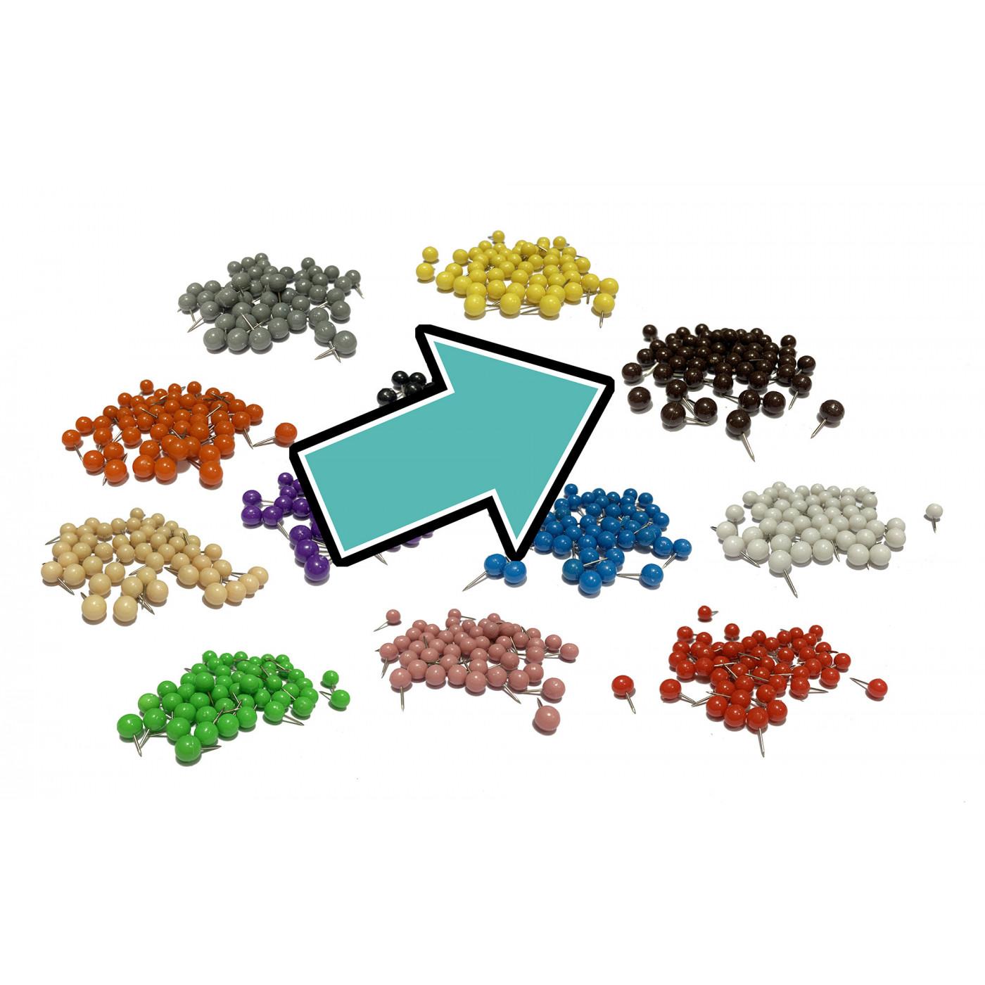 Set of 250 push pins ball: brown, 9.5 mm