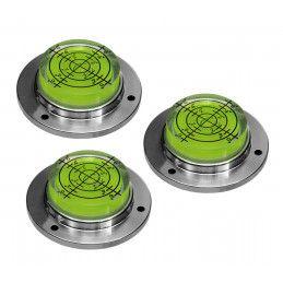 Set von 3 runde Wasserwaagen grün, Metallgehäuse