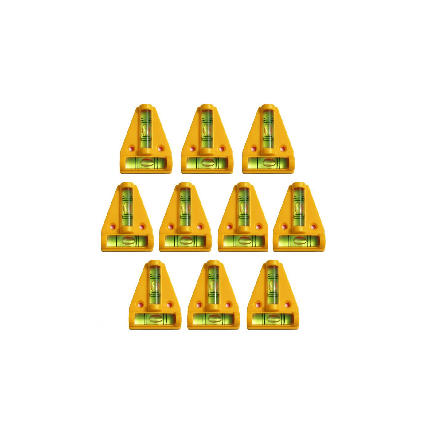 Set van 10 kruiswaterpassen met schroefgaten (geel)