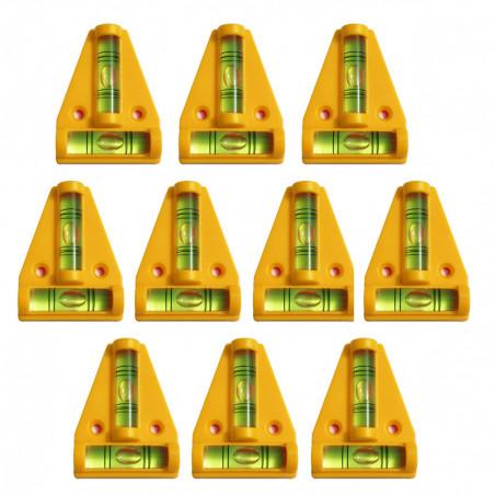 Set von 10 Wasserwaage mit Schraubenlöchern (gelb)