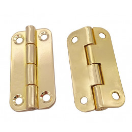 Set of 20 sturdy metal hinges for box (18x35 mm, gold color)
