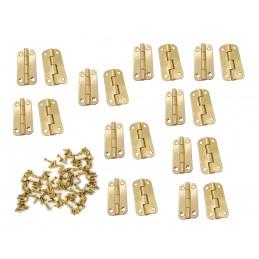 Conjunto de 20 dobradiças metálicas robustas para caixa (18x35 mm, cor dourada)  - 1
