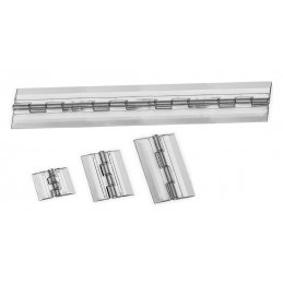 Set of 20 plastic hinges, transparent, 65x42 mm