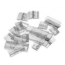 Set of 20 plastic hinges, transparent, 65x42 mm
