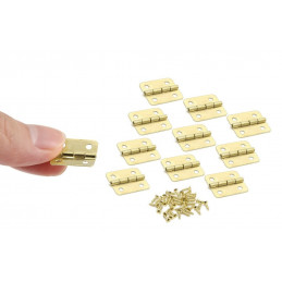 Set of 30 pieces small brass hinges (18x16mm)