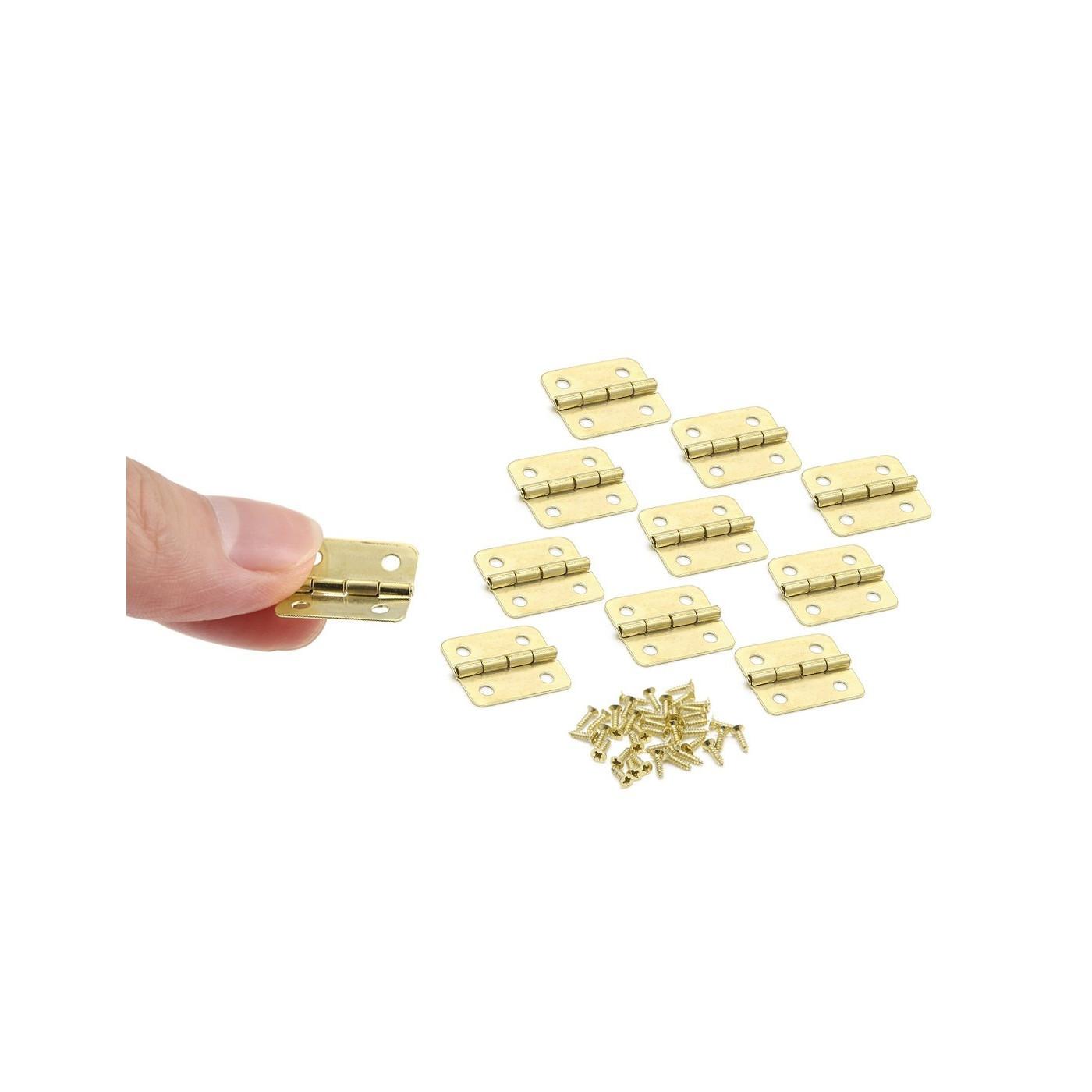 Set von 60 kleinen Messingscharnieren, 18x16 mm