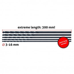 Set of 5 metal drill bits, extra long (3.0x300 mm)