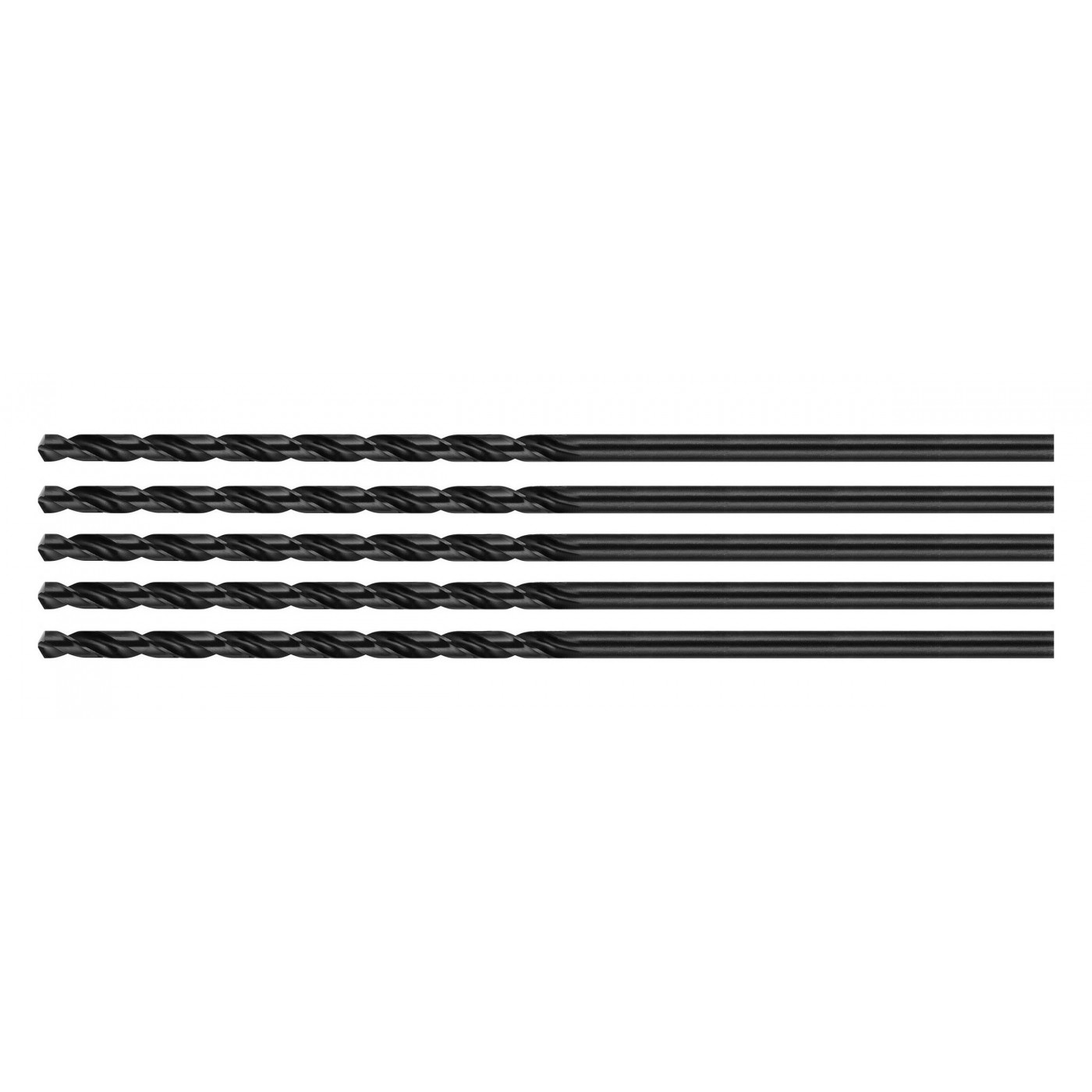 Set of 5 metal drill bits, extra long (5.0x300 mm)
