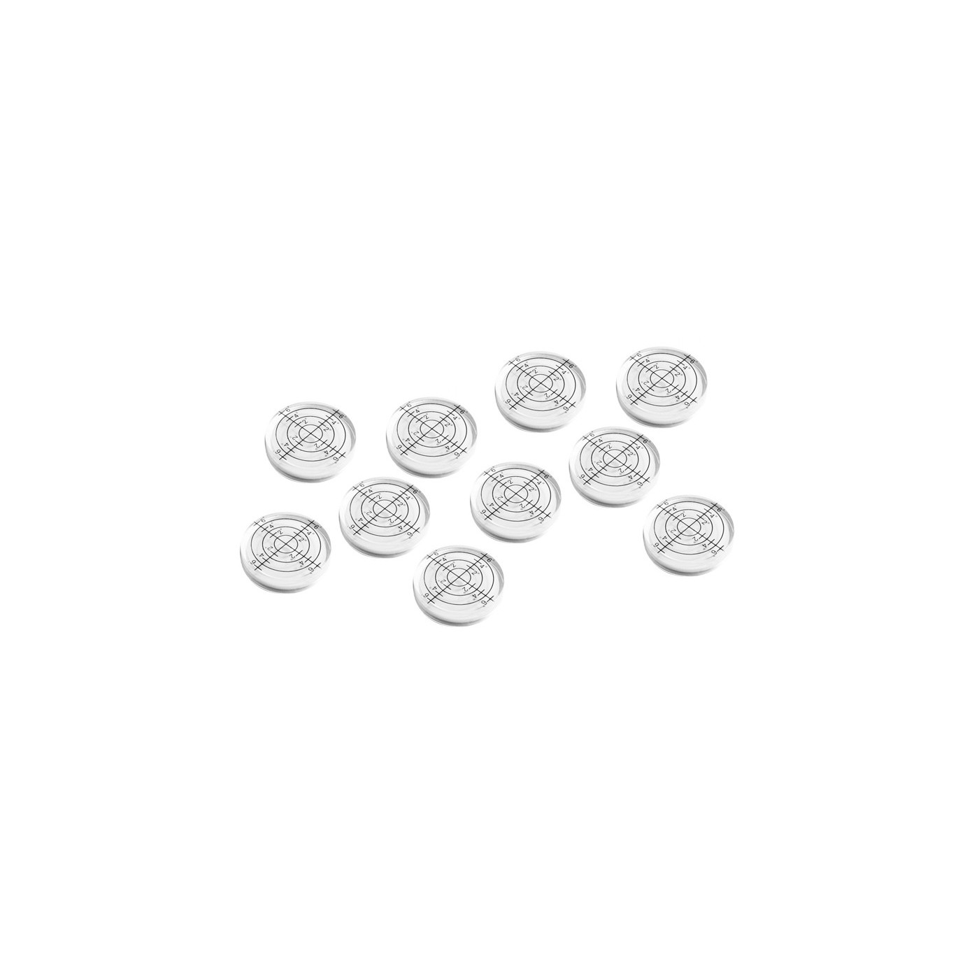 Ensemble de 10 flacons à niveau à bulle (32x7 mm, blancs)