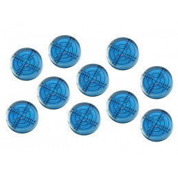 Set of 10 bubble level vials (32x7 mm, blue)