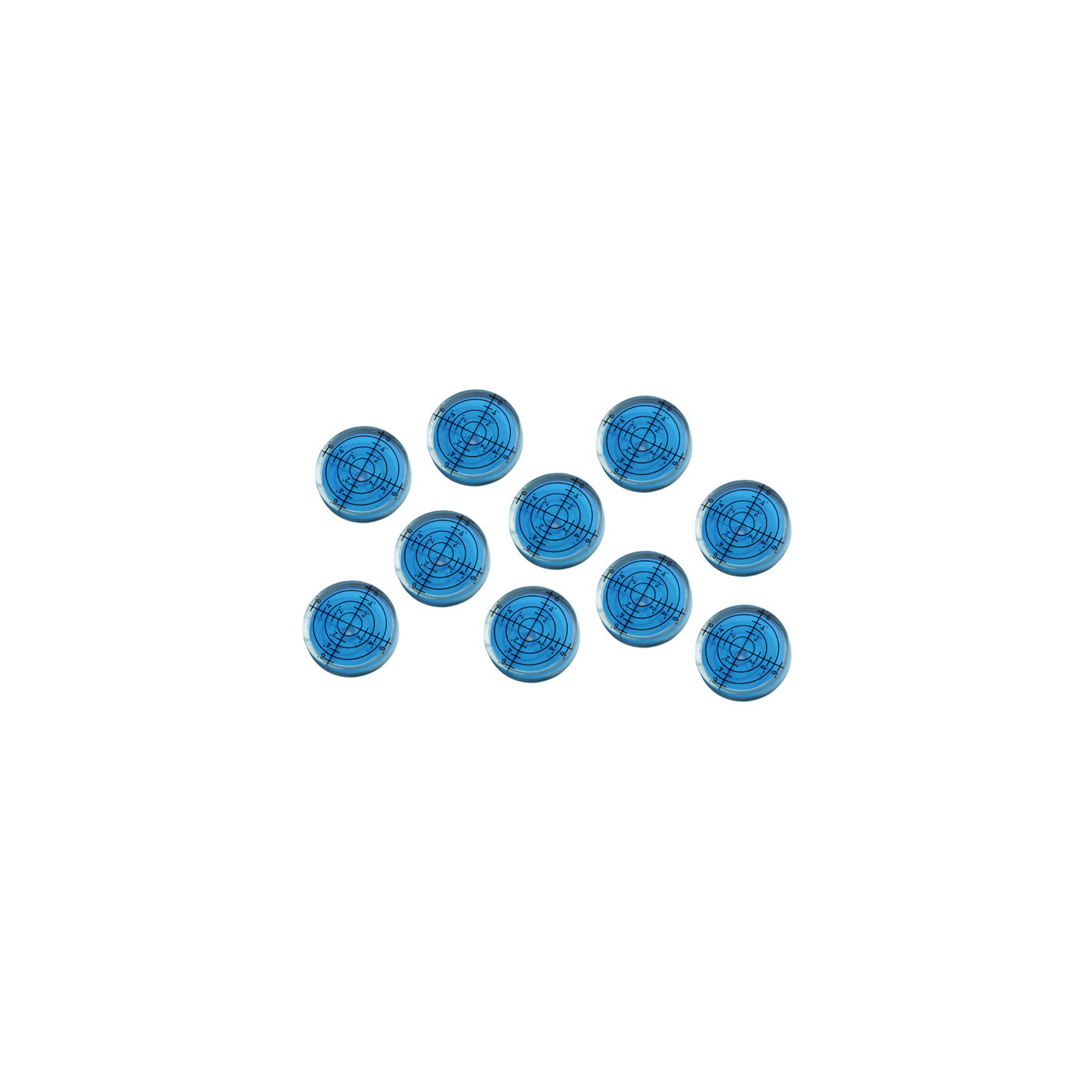Set van 10 ronde waterpasjes (32x7 mm, blauw)  - 1