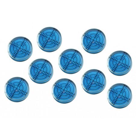 Set van 10 ronde waterpasjes (32x7 mm, blauw)