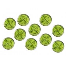 Ensemble de 10 flacons à niveau à bulle (32x7 mm, vert)