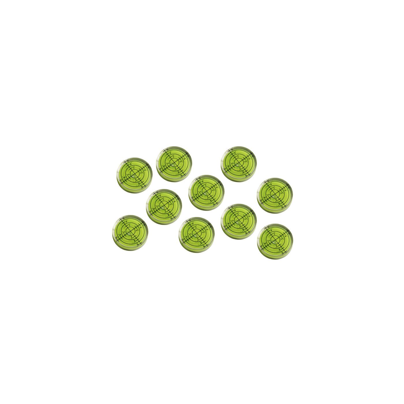 Set of 10 bubble level vials (32x7 mm, green)
