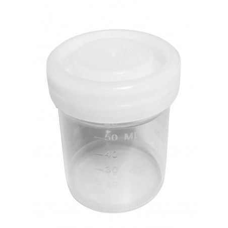 Set of 50 sample containers, 60 ml with white screw caps