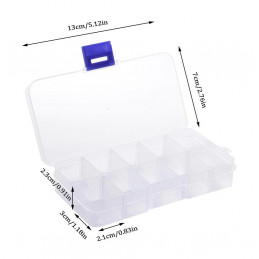Set of 10 plastic assortment boxes (13x7x2.3 cm)