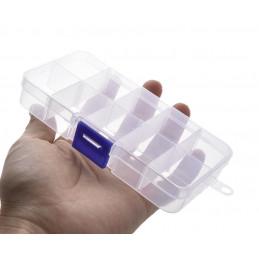 Ensemble de 10 boîtes d'assortiment en plastique (13x7x2,3 cm)