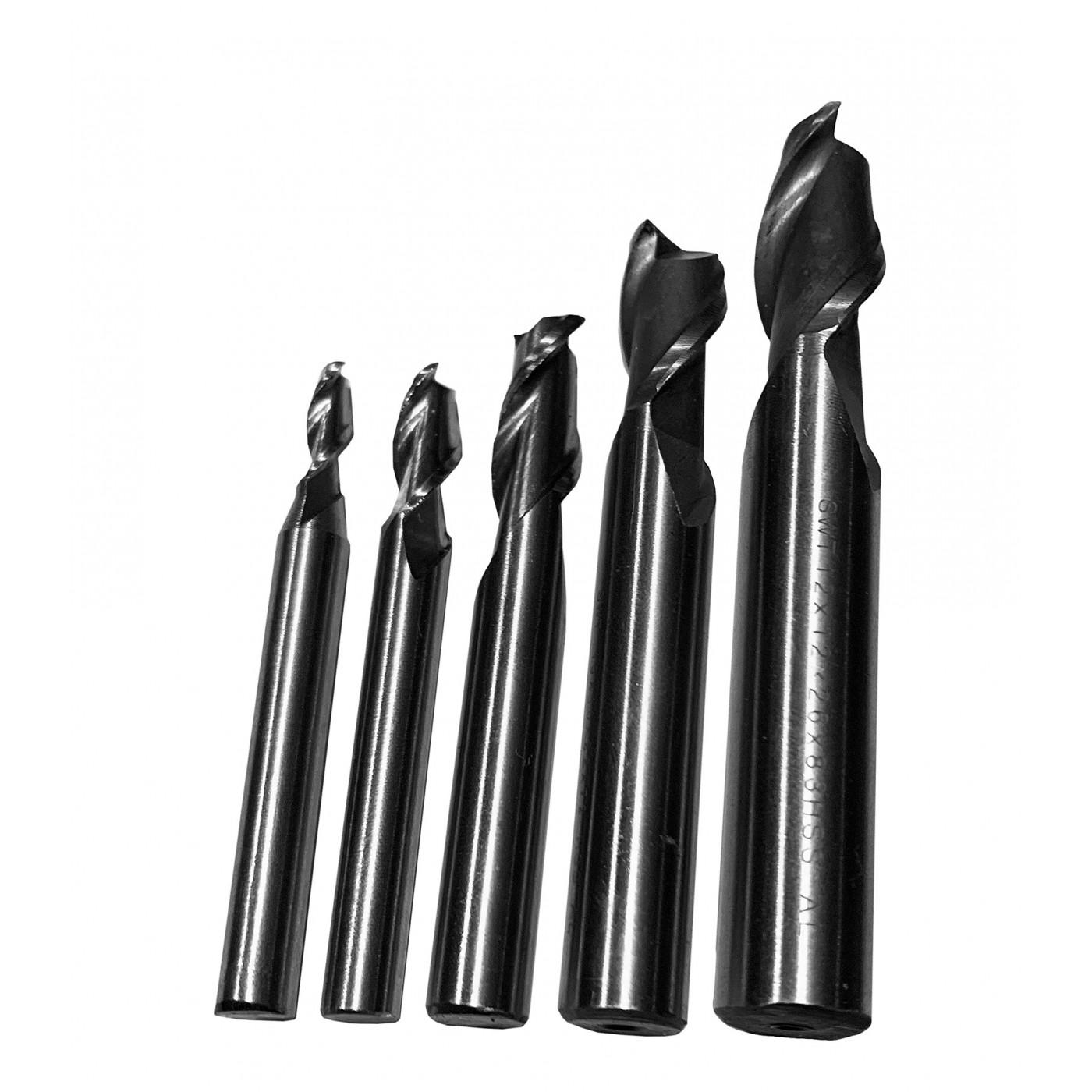 Set HSS milling cutters, 2 flutes (5 pcs)
