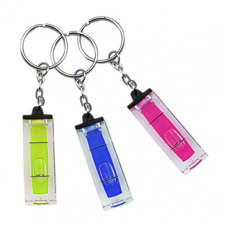 Set of 20 key chains with bubble level (blue)