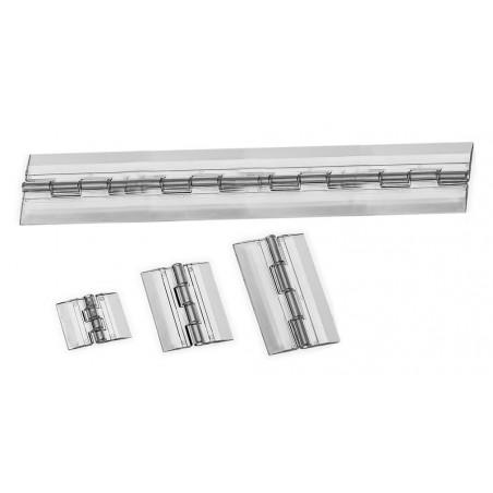 Set of 5 plastic hinges, transparent, 150x45 mm