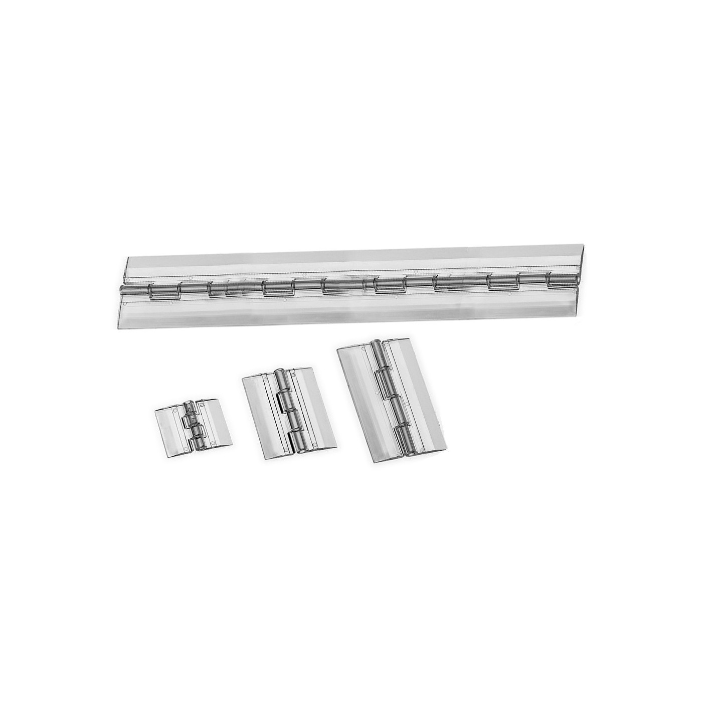 Set of 5 plastic hinges, transparent, 200x42 mm