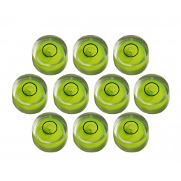 Set of 10 small round bubble levels size 7 (18x9 mm)