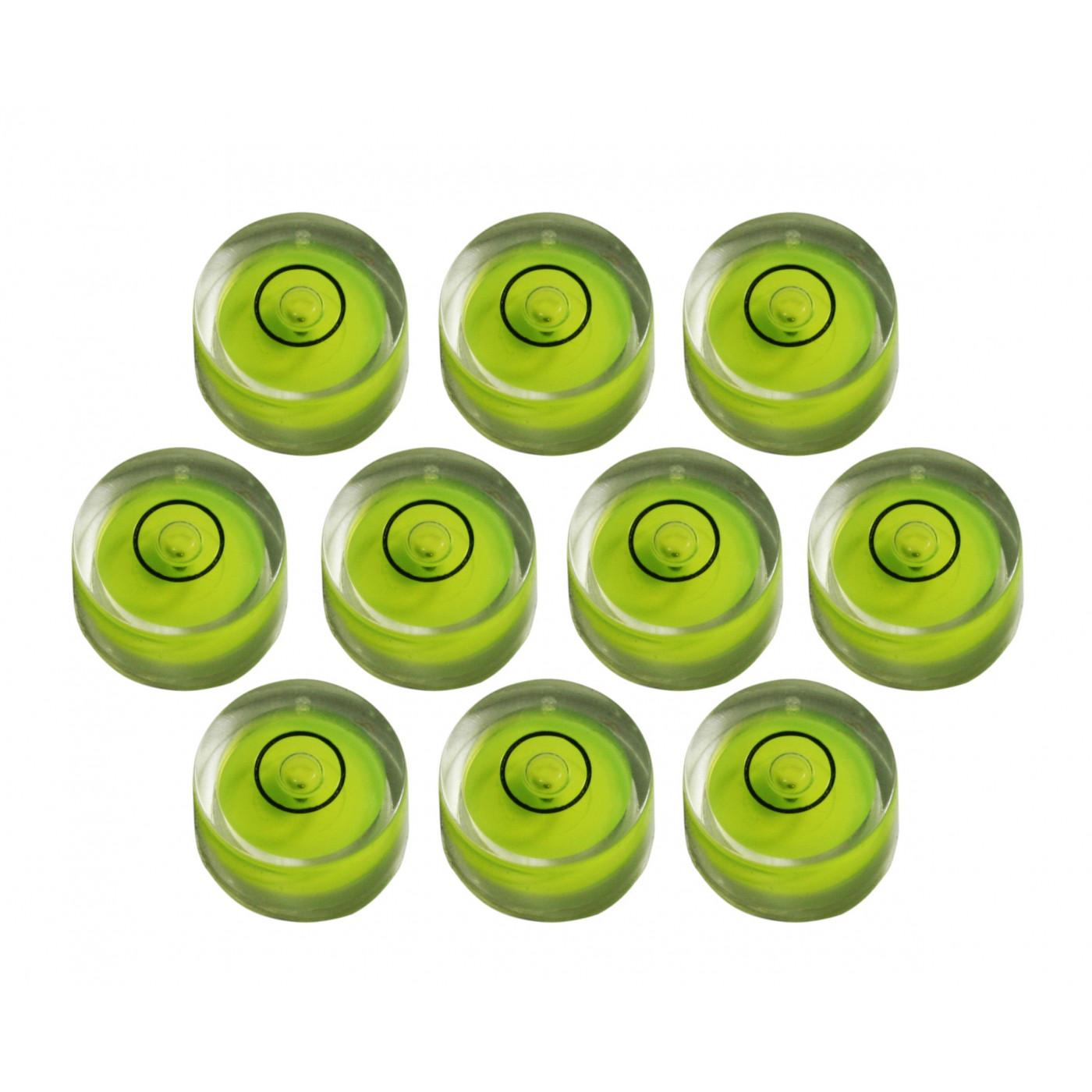 Ensemble de 10 petits niveaux à bulle ronds taille 7 (18x9 mm)