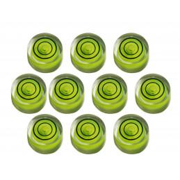 Ensemble de 10 petits niveaux à bulle ronds taille 8 (20x9 mm)